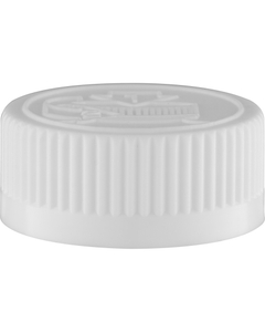 33mm 33-400  White Child Resistant Cap (Pictorial) w/HIS TE Liner for HDPE, 2-Piece, Tamper Indicating