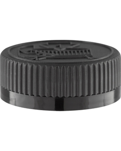38mm 38-400 Black Child Resistant Cap (Pictorial) w/Foam Liner (3-ply)