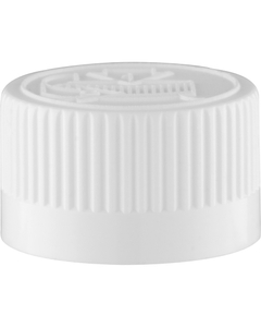 20mm 20-400 White Child Resistant Cap (Pictorial) w/F217 Embossed Vented Liner