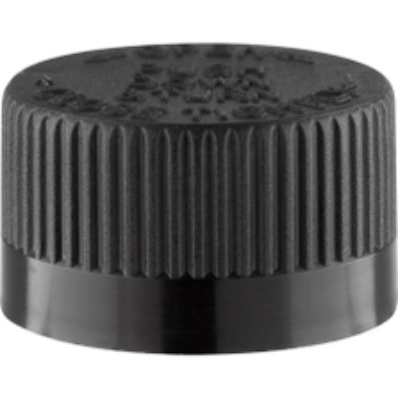 20mm 20-400 Black Child Resistant Cap (PDT) w/Foam Liner (3-ply)