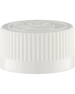 24mm 24-400 White Child Resistant Cap (Pictorial) w/HIS TE Liner for HDPE