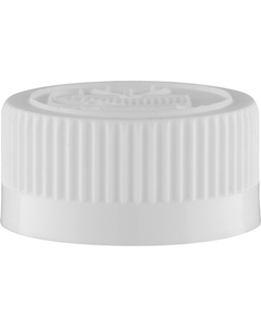 28mm 28-400 White Child Resistant Cap (Pictorial) w/Foam Liner (3-ply)