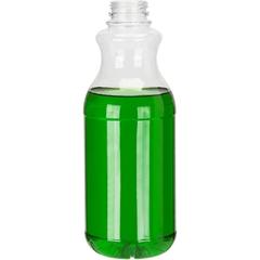 32 oz. Clear PET Plastic Tamper Evident Round Bottle, 38mm 358DBJ