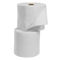 """15"""" x 300"""" Light-Weight Oil-Only Absorbent Split Rolls, Meltblown, White (2 rolls/bag)"""