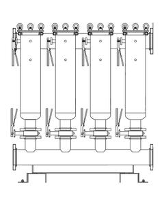 "Multi-Plex (4) Filter Vessel, 304 Stainless Steel, 4"" Flange, Size #2 (30"" Basket Depth)"