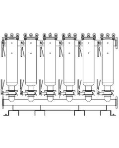 """Multi-Plex (6) Filter Vessel, Carbon Steel, 6"""" Flange, Size #2 (30"""" Basket Depth)"""