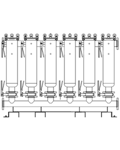 "Multi-Plex (6) Filter Vessel, 304 Stainless Steel, 6"" Flange, Size #2 (30"" Basket Depth)"