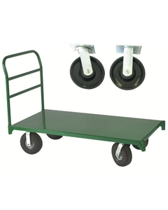 "30"" x 60"" Steel Platform Truck, 8"" x 2"" Polyolefin Casters, 2,500 lb. Capacity"