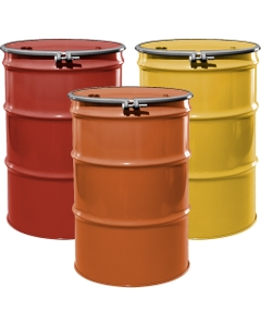 """55 Gallon Steel Drum, Reconditioned, UN-Rated, Unlined, Cover w/Bolt Ring, 2"""" & 3/4"""" Fittings"""