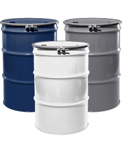 """55 Gallon Steel Drum, Reconditioned, UN-Rated, Lined, Cover w/Bolt Ring, 2"""" & 3/4"""" Fittings"""
