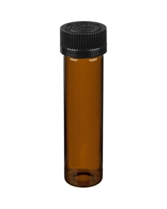"""3.7"""" Amber Glass Pre Roll Tube, Black Pictorial Child Resistant Cap, 22mm 22-400"""