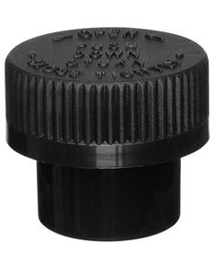 1/4 oz. Black Plastic Concentrate Container, Black Child Resistant Cap, 33mm 33-400