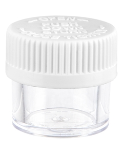 1/4 oz. Clear Plastic Concentrate Container, White Child Resistant Cap, 33mm 33-400