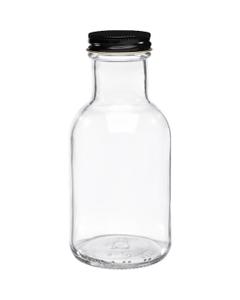 8 oz. Clear Glass Stout Bottle w/Black Metal Plastisol Lined Cap, 38mm 38-405