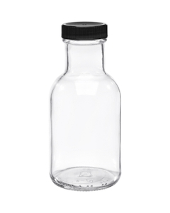 8 oz. Clear Glass Stout Bottle w/Black Ribbed Cap, Foam Liner, 38mm 38-405