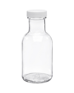 8 oz. Clear Glass Stout Bottle w/White Ribbed Cap, Foam Liner, 38mm 38-405