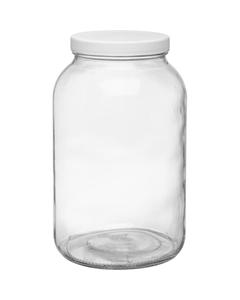 128 oz. Dispensary Storage Jar, White Plastic Cap, 110mm 110-405