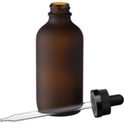 4 oz. Frosted Amber Boston Round Glass Black Child Resistant Dropper Bottle, 22mm 22-400