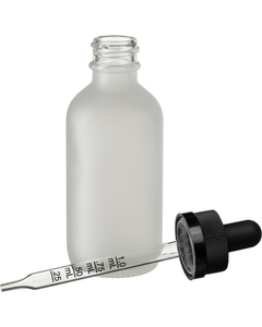2 oz. Frosted Boston Round Glass Calibrated Black Child Resistant Dropper Bottle, 20mm 20-400