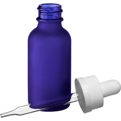 1 oz. Frosted Cobalt Blue Boston Round Glass White Child Resistant Dropper Bottle, 20mm 20-400