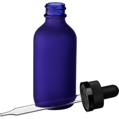 2 oz. Frosted Cobalt Blue Boston Round Glass Black Child Resistant Dropper Bottle, 20mm 20-400