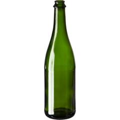 25.36 oz. (750 ml) Champagne Green Glass Sparkling Beer Bottle, Crown Pry-Off, 26-3160, 12/cs