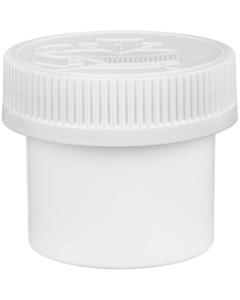 2 oz. White Plastic Concentrate Container, White Child Resistant Cap, 53mm 53-400