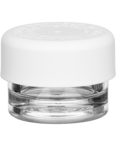 1/8 oz. Clear Plastic Concentrate Container, White Smooth Child Resistant Cap, 33mm 33-400