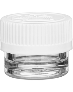 1/8 oz. Clear Plastic Concentrate Container, White Child Resistant Cap, 33mm 33-400