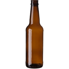 12 oz. (355 ml) Amber Glass Long Neck Beer Bottle, Pry-Off Crown, 26-611, 198 Grams