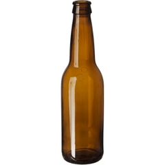 12 oz. (355 ml) Amber Glass Long Neck Beer Bottle, Pry-Off Crown, 26-611, 193 Grams