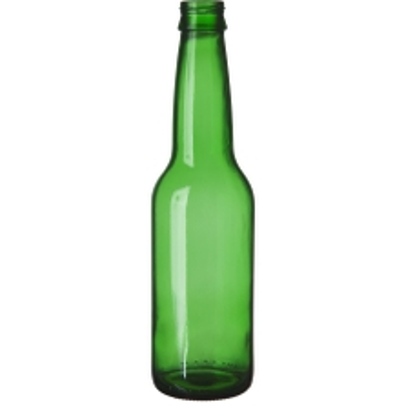 12 oz. (355 ml) Emerald Green Glass Long Neck Beer Bottle, Crown Twist-Off, 26-502