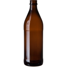 16.9 oz. (500 ml) Amber Glass Euro Beer Bottle, Crown Pry-Off, 26-611