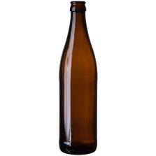 16.9 oz. (500 ml) Amber Glass Vichy Beer Bottle, Crown Pry-Off, 26-600