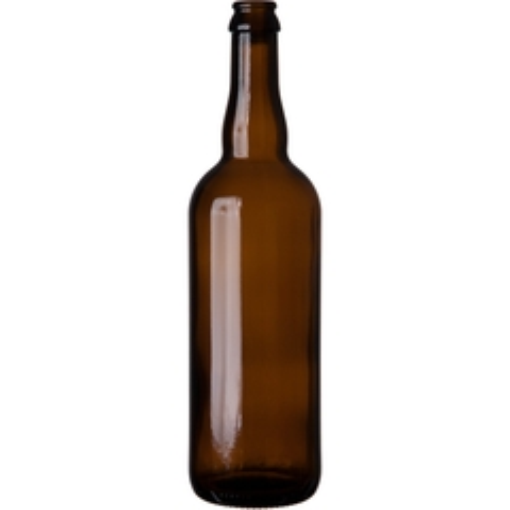 25.36 oz. (750 ml) Amber Glass Belgian Beer Bottle, Crown Pry-Off
