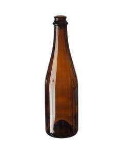 16.9 oz. (500 ml) Amber Glass Sparkling Beer Bottles, Crown Pry-Off & Cork, 26-3150, 12/cs