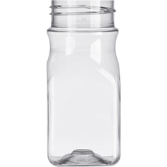 4 oz. Clear PET Plastic Square Spice Jar, 43mm 43-485