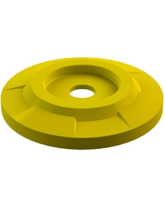 """55 Gallon Drum Yellow Plastic Flat Top Recycling Lid, 4"""" Opening"""