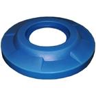 55 Gallon Drum Blue Plastic Flat Top Trash Receptacle Lid, 11.5