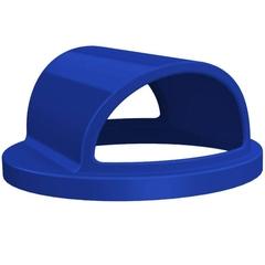 55 Gallon Drum Blue Plastic 2-Way Open Trash Receptacle Lid