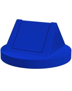 55 Gallon Drum Blue Plastic Swing Top Trash Receptacle Lid