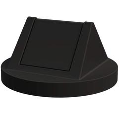 55 Gallon Drum Black Plastic Swing Top Trash Receptacle Lid