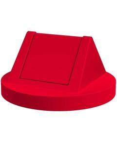 55 Gallon Drum Red Plastic Swing Top Trash Receptacle Lid