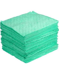"""15"""" x 18"""" Heavy-Weight Antifreeze Absorbent Pads, Sonic Bonded, Green (100 pads/bag)"""