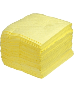 """15"""" x 18"""" Heavy-Weight Hazmat Absorbent Pads, Sonic Bonded, Yellow (100 pads/bag)"""