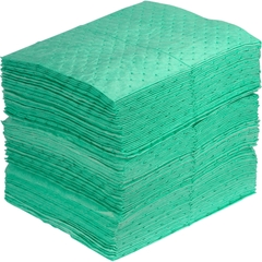 """15"""" x 18"""" Light-Weight Antifreeze Absorbent Pads, Fine Fiber, Green (200 pads/bag)"""