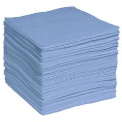 """15"""" x 18"""" Light-Weight Oil Absorbent Pads, Fine Fiber, Blue (200 pads/bag)"""
