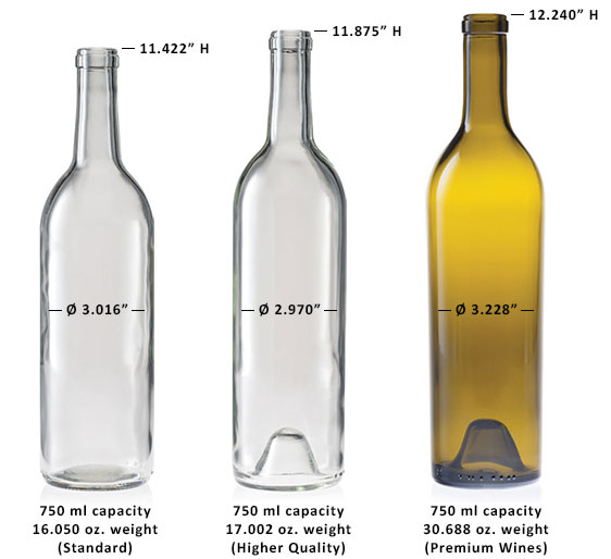 750 ml Bordeaux Wine Bottle Sizes